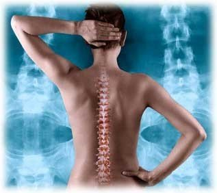 Chiropractic and osteopathic image of spine demonstrating Back Pain, Neck Pain, Back Ache, Neck Ache
