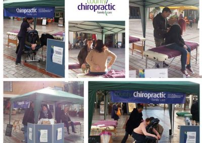 County Chiropractic Osteopath Adam, Chiropractor Tom and Massage Therapist Vanessa at our spinal health screening event in Princesshay Exeter